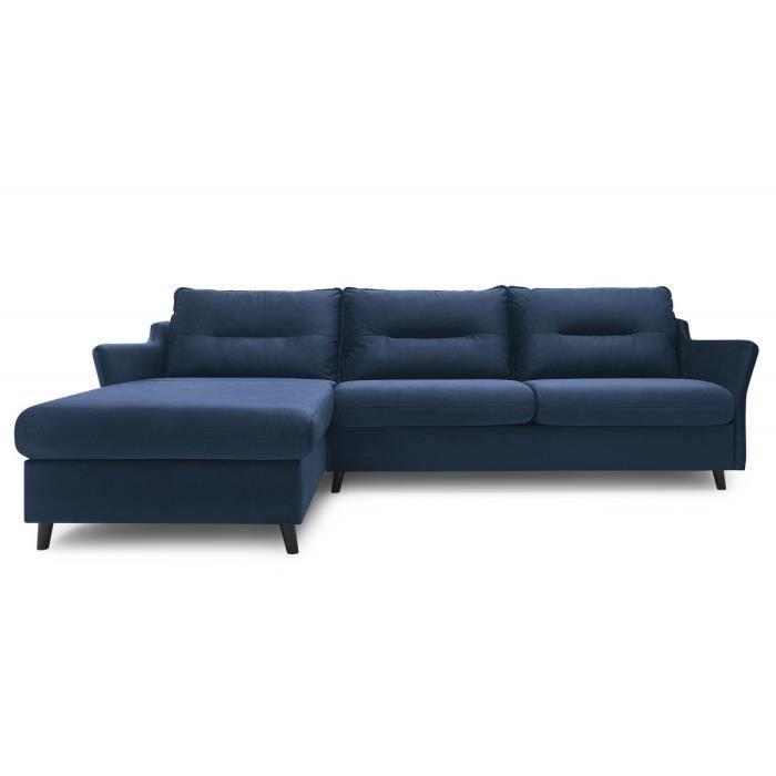Canapé d'angle convertible ouverture express Loft Bleu Marine Angle gauche Matelas pour un couchage quotidien Pieds bois couleur