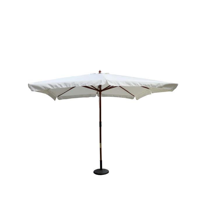 Palawan écru : Parasol bois 3 x 3 m