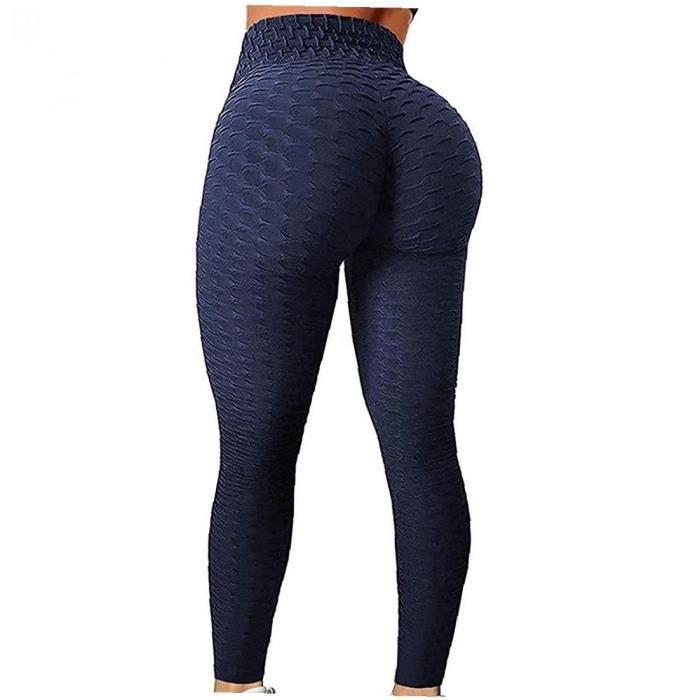 Femmes Yoga Leggings Haute Taille Touche Ascenseur Tummy Tummy Sports Gym Pants Navy Blue L
