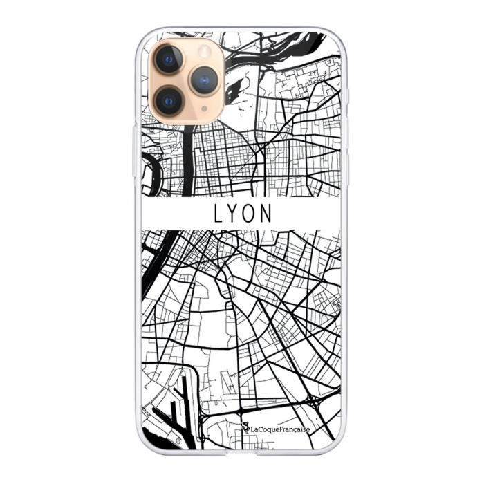Coque iPhone 11 Pro 360 intégrale transparente Carte de Lyon Ecriture Tendance Design La Coque Francaise