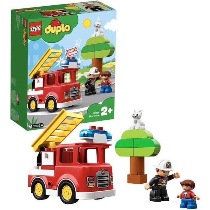 LEGO® 10901 DUPLO Town Le Camion De Pompiers Jouet Pour Enfants 2 - 5 ans avec Son, Lumière et Figurine De Pompier