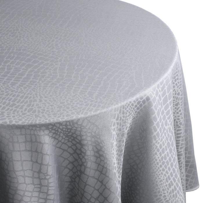 Nappe ovale 180x240 cm Jacquard 100% polyester LOUNGE perle