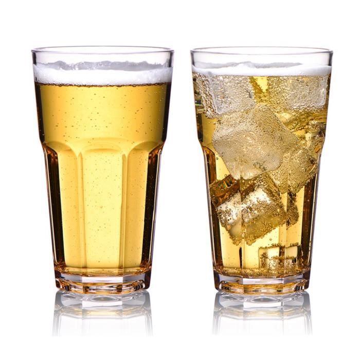 MICHLEY Luxe Verres à Bière 34 CL, Incassable Acaules Verrerie, 100% Tritan-Plastique Verres à Dégustation Vin, BPA Gratuit&Lave