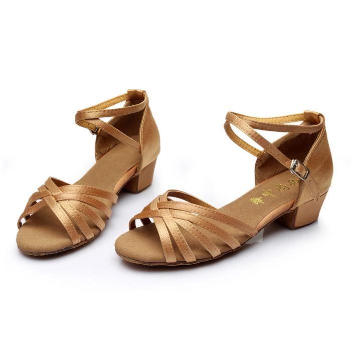 Haute qualité filles enfants enfants salle de bal Tango Salsa chaussures de danse latine sandales Kaki