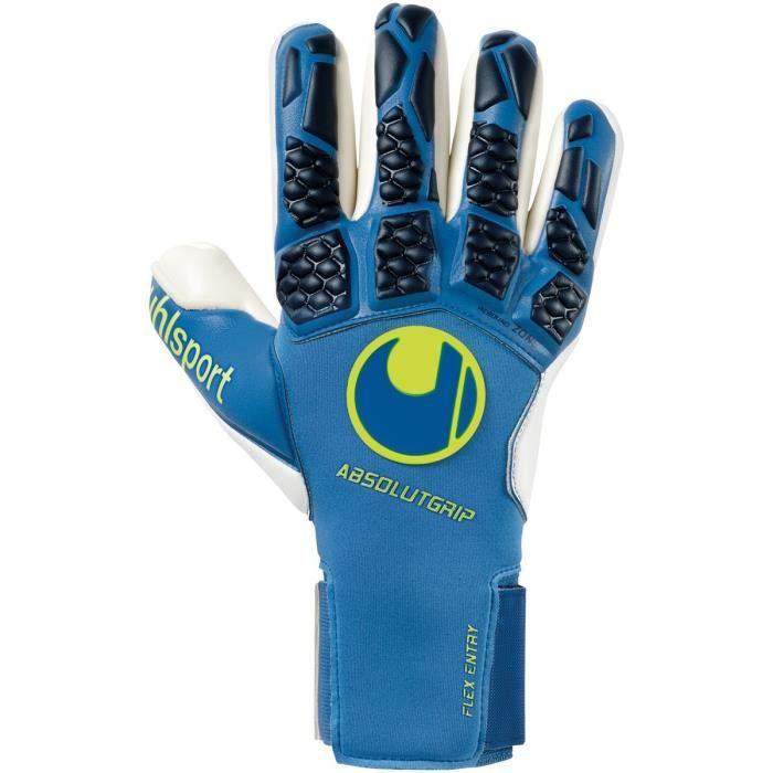 Gants de gardien de but Uhlsport hyperact absolutgrip finger surround - bleu nuit/blanc/jaune fluo - 10,5