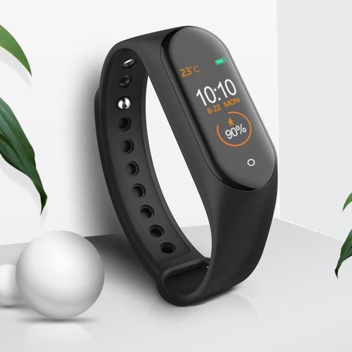 Montre intelligente M4 Moniteur de fréquence cardiaque Smartwatch étanche IP67 Écran couleur IPS 0.96- - Noir