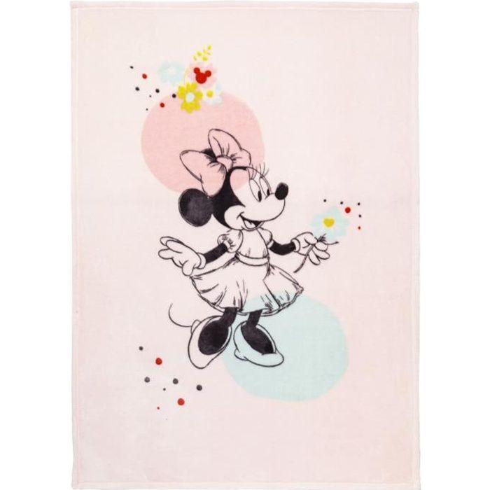 DISNEY - Minnie - Couverture Floral - 100 x 140 cm