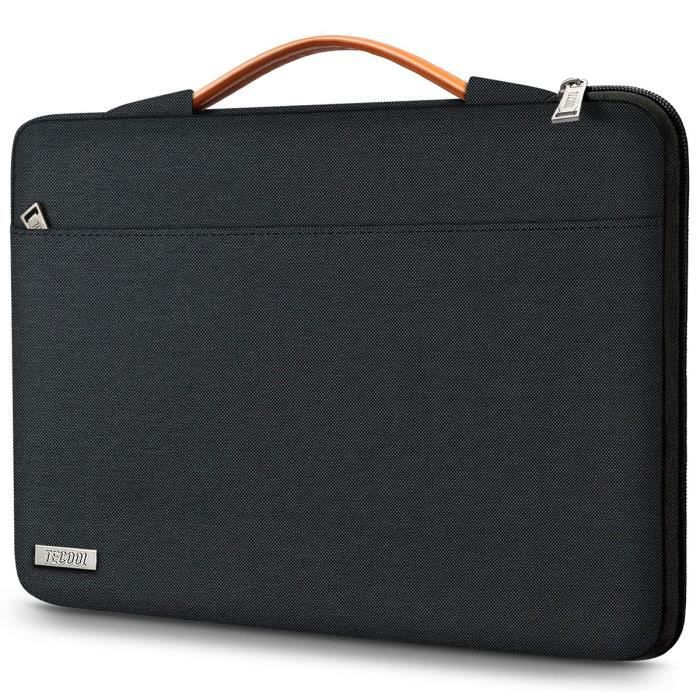 TECOOL Pochette Housse Ordinateur Portable pour MacBook Air/Pro 13-, Dell XPS 13 Pouces, HP Envy 13-, 12.3 Pouces Surface Pro, Noir