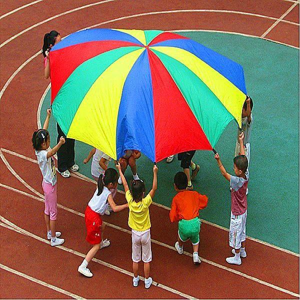 TEMPSA 2M Enfant Parachute Arc-en-parapluie Jouet Jardin d'Enfants Rallye Parapluie Parent-enfant