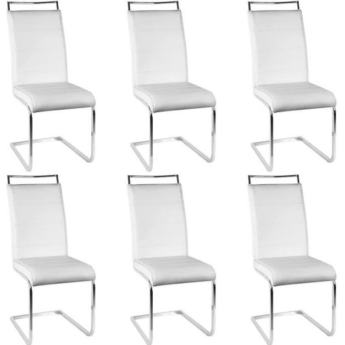 lot de 6 chaises mia blanches pour salle a manger