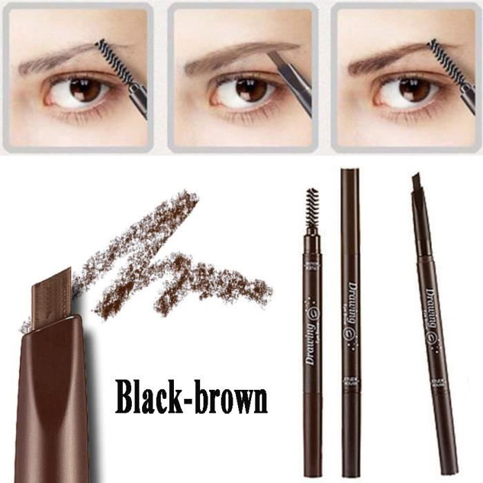 marron noir crayon sourcils brosse pinceau sourcils two way waterproof achat vente eye. Black Bedroom Furniture Sets. Home Design Ideas