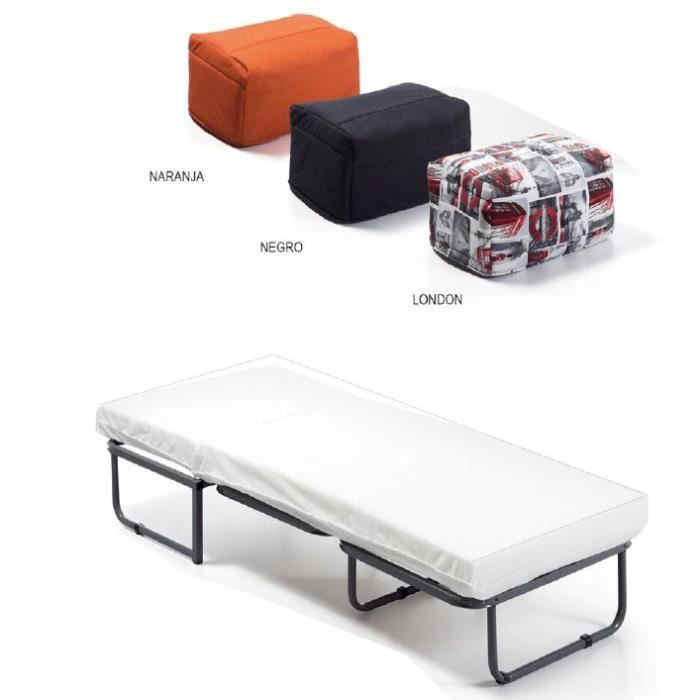 pouf lit si ge pliant avec lit simple orange achat. Black Bedroom Furniture Sets. Home Design Ideas