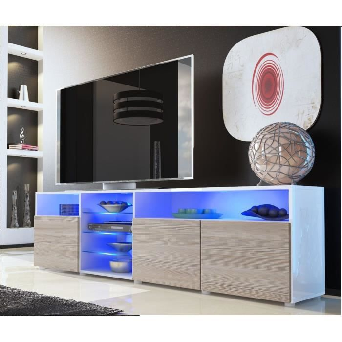 meuble tv blanc et bordeaux avec tag re vitr e 194cm achat vente meuble tv meuble tv blanc. Black Bedroom Furniture Sets. Home Design Ideas