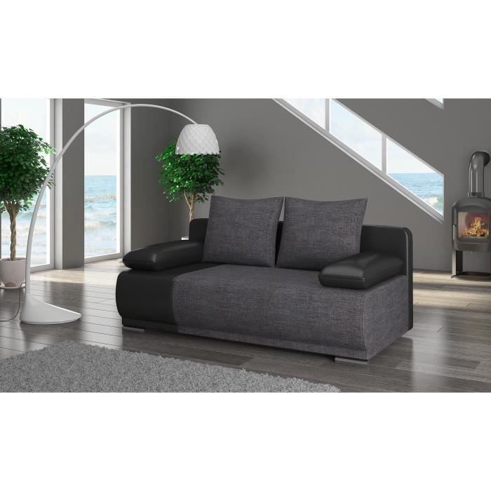 roma canap convertible 200x95x90cm couleur noir gris achat vente canap sofa. Black Bedroom Furniture Sets. Home Design Ideas