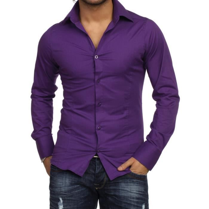 chemise homme slim fit violet achat vente chemise. Black Bedroom Furniture Sets. Home Design Ideas