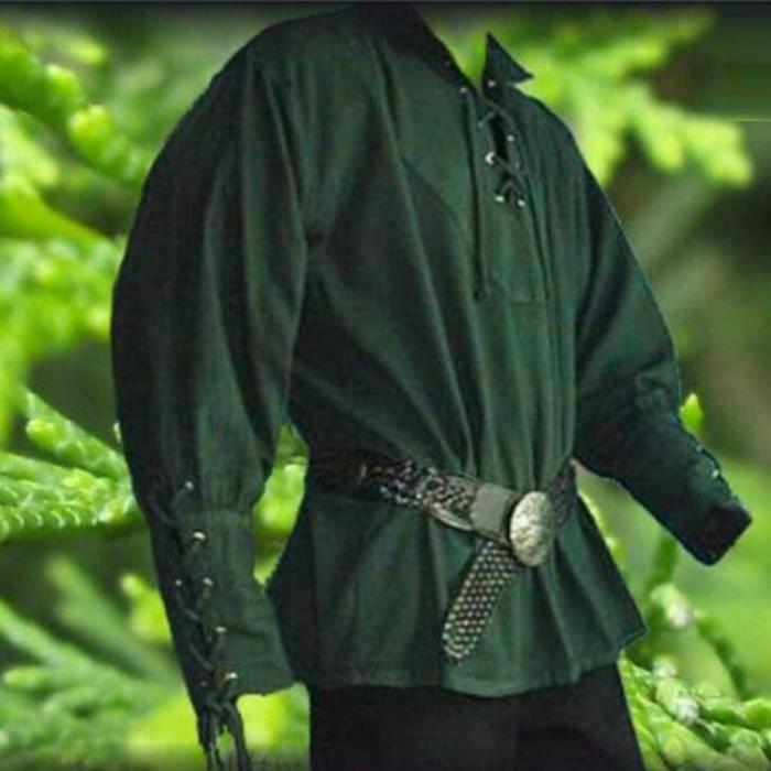 Hommes Capuche Médiéval Vintage manches Ethnique Imprimé Top