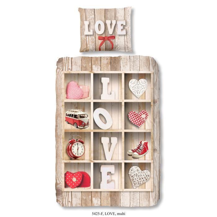 HOUSSE DE COUETTE ET TAIES GOOD MORNING  Parure de couette Love style scandin