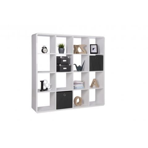 bibliotheque design blanc laque 16 niches square 140 cm achat vente biblioth que. Black Bedroom Furniture Sets. Home Design Ideas