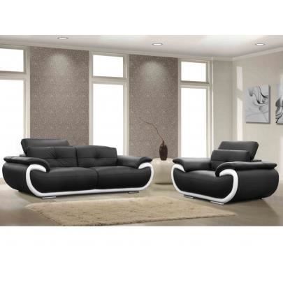 salon 3 1 places cuir smiley bicolore noir et achat. Black Bedroom Furniture Sets. Home Design Ideas
