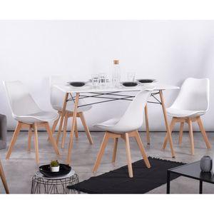 TABLE DE CUISINE  Table à manger pour 4 à 6 personnes + 4 chaises bl