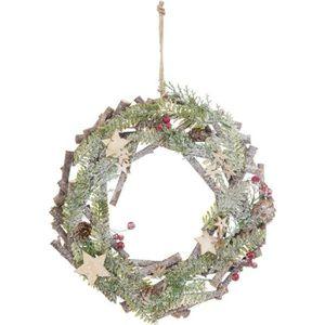 COURONNE DE NOËL Couronne décorative à suspendre 138249A - En bois