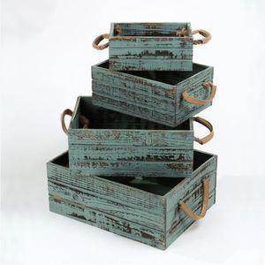 BOITE DE RANGEMENT CASAME Lot de 4 caisses rectangulaires vintage - E