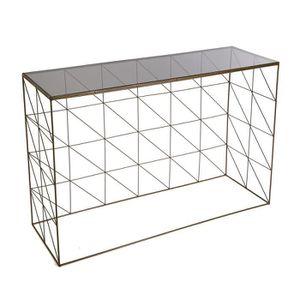 CONSOLE EXTENSIBLE Console avec plateau en verre et structure chromée