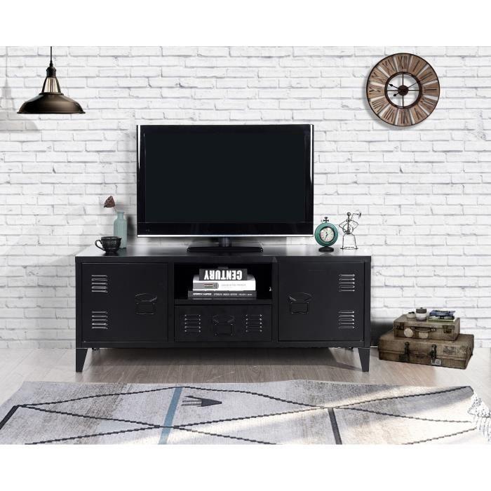 LIVERPOOL Meuble TV en métal 2 portes 1 tiroirs - Noir - L 120 cm