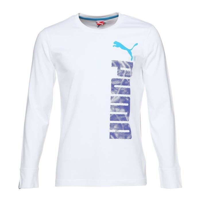 PUMA T-shirt Logo Graphic Manches longues - Homme - Blanc