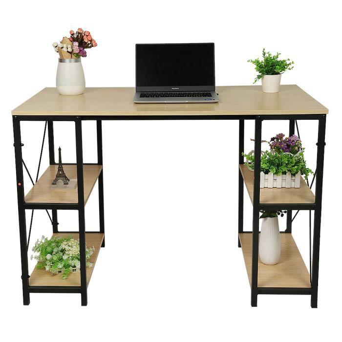 WSdwqaa® Chêne Bureau en Bois et Acier Avec 4 étagères design industriel