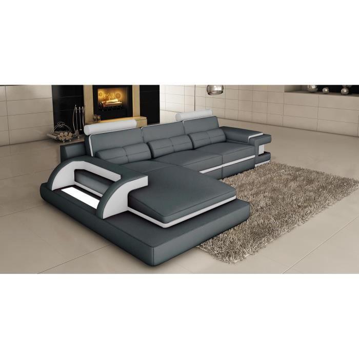 Canapé d'angle cuir gris et blanc design avec lumière IBIZA (angle gauche)