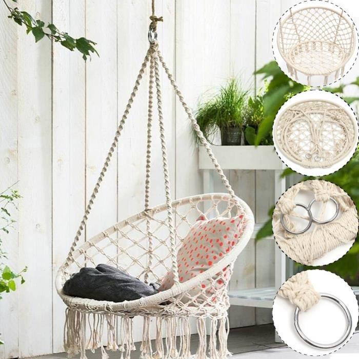 Hamac rond de style nordique, hamac de sécurité, corde de balançoire, hamacs intérieurs et extérieurs, sièges de jardin pour enfants