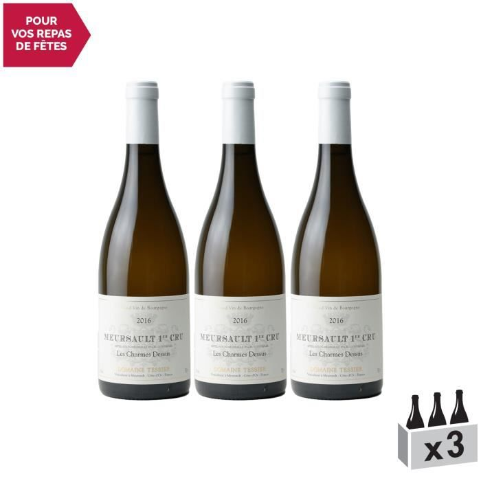 Meursault 1er Cru Charmes Blanc 2016 - Lot de 3x75cl - Domaine Tessier - Vin AOC Blanc de Bourgogne - Cépage Chardonnay