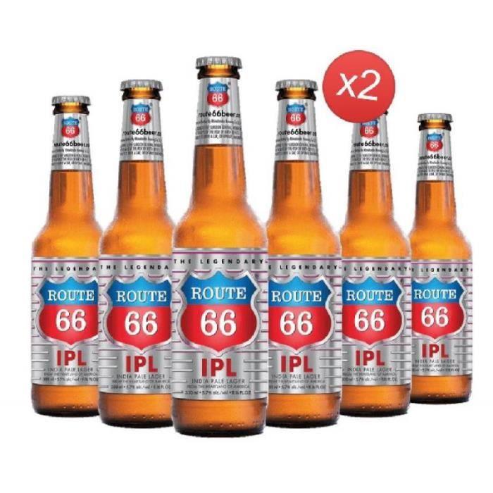ROUTE 66 IPA 12*33CL - Brasserie: MINHAS BREWERY Type de Bière: Lager Couleur: blonde Pays: Etats-unis Volume CL: 396 Deg