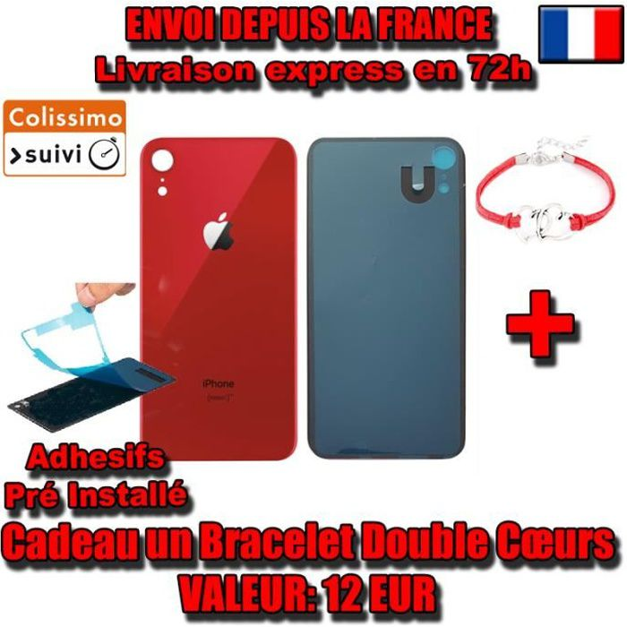 VITRE ARRIERE SUR CHASSIS iPhone XR (PRODUCT) RED ROUGE VITRE AR