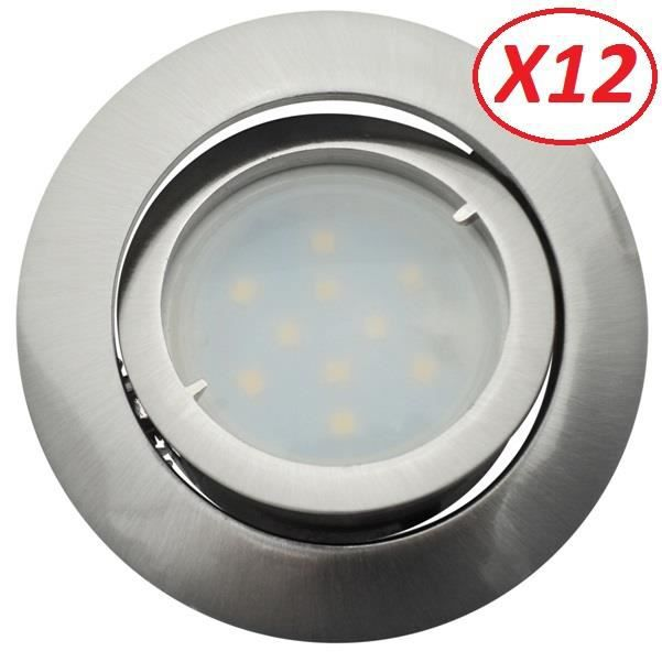 Lot de 12 Spot Led Encastrable Complete Satin Orientable lumière Blanc Neutre eq. 50W ref.895