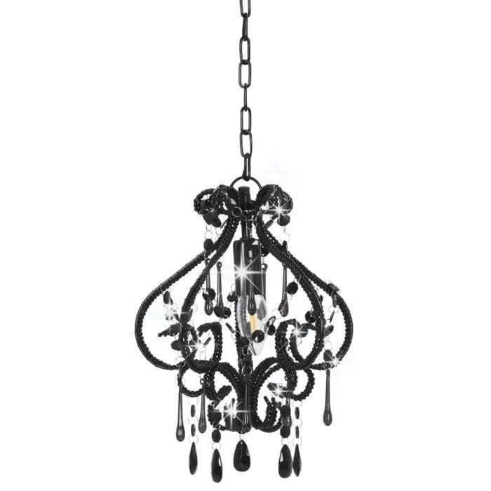 Bonne qualité - Plafonnier - Lustre et Suspension Lampe suspendue - avec perles Noir Rond E14 @2387 :