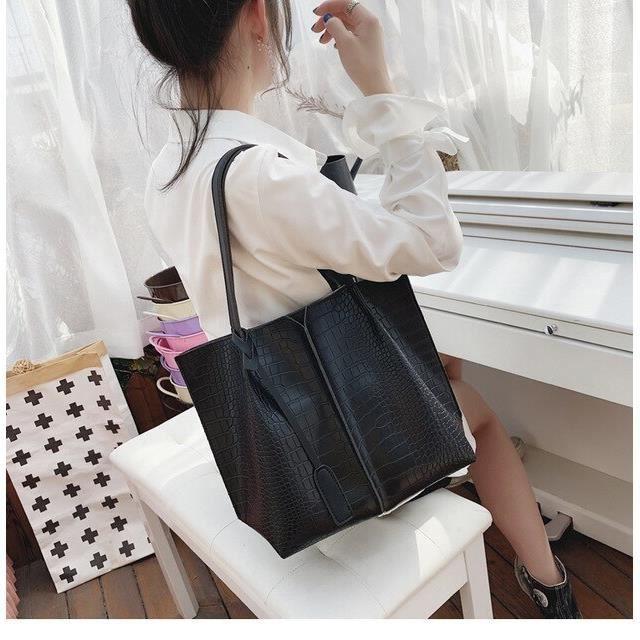 Simple grand sac à main femme 2019 nouvelle vague mode grande capacité sac fourre tout haute qualité PU cuir sauvage sac~L3712