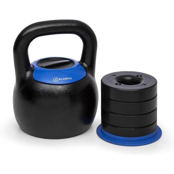 POIDS KLAR FIT Adjustabell - Kettlebell r&eacuteglable, halt&egravere Ronde, Poids r&eacuteglable : 8-16 kg ou 16-24 kg, en242