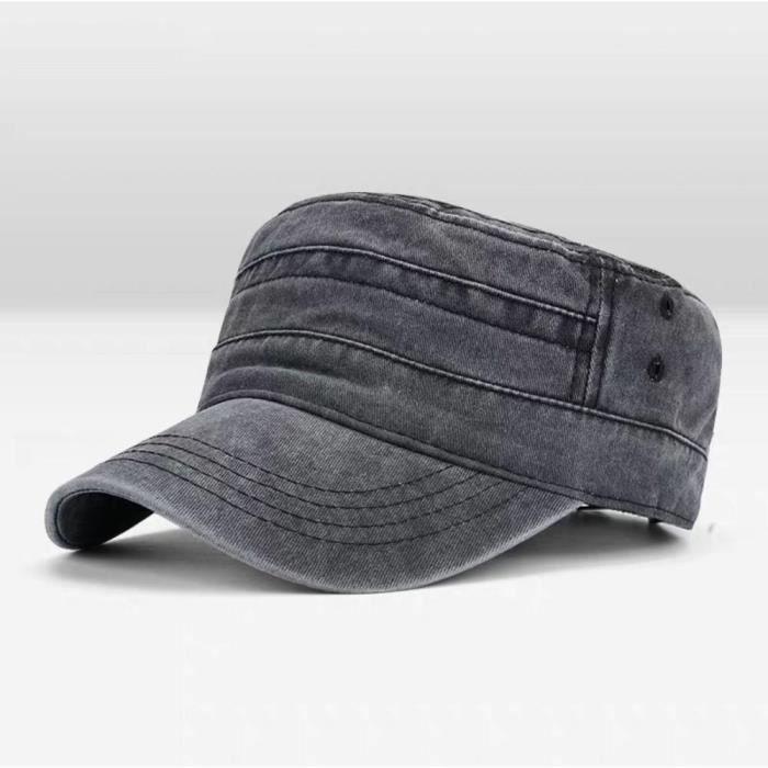 Couleur unie hommes & #039s casquette militaire réglable casquette plate Style classique crème solai B Adjustable