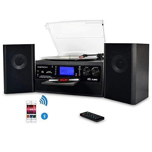DIGITNOW! Platine Vinyle Bluetooth USB mp3 et Fonction Encodage Classique Lecteur CD avec CD Cassette Radio 33/45/78 RPM avec Deux