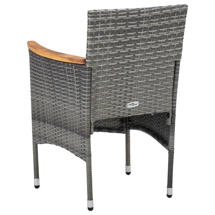 HOT Garden1087 Lot de 2 Chaises de salle à manger - Chaises de jardin Fauteuil de Jardin Résine tressée Gris Discount