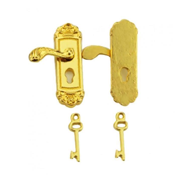 2PCS délicat maison Verrouillage de la porte FancyDoll porte Boutons Vivid poignée de porte d'or Toy (1 paire)