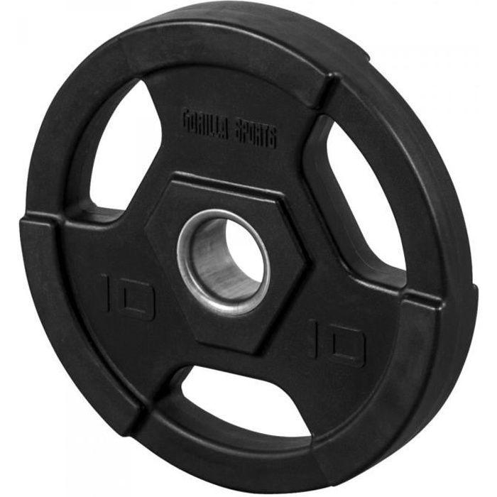 Gorilla Sports - Poids disques olympiques en fonte rêvetement caoutchouc avec anneau métalliquede 51mm - de 12,5 à 25 kg - 10 KG