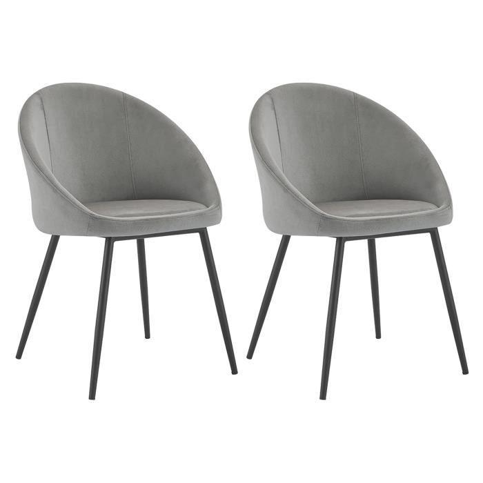 Lot de 2 chaises vintage DIANE velours gris Gris
