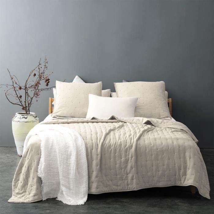 Couvre lit matelassé et moelleux Ecru 250 x 260 cm