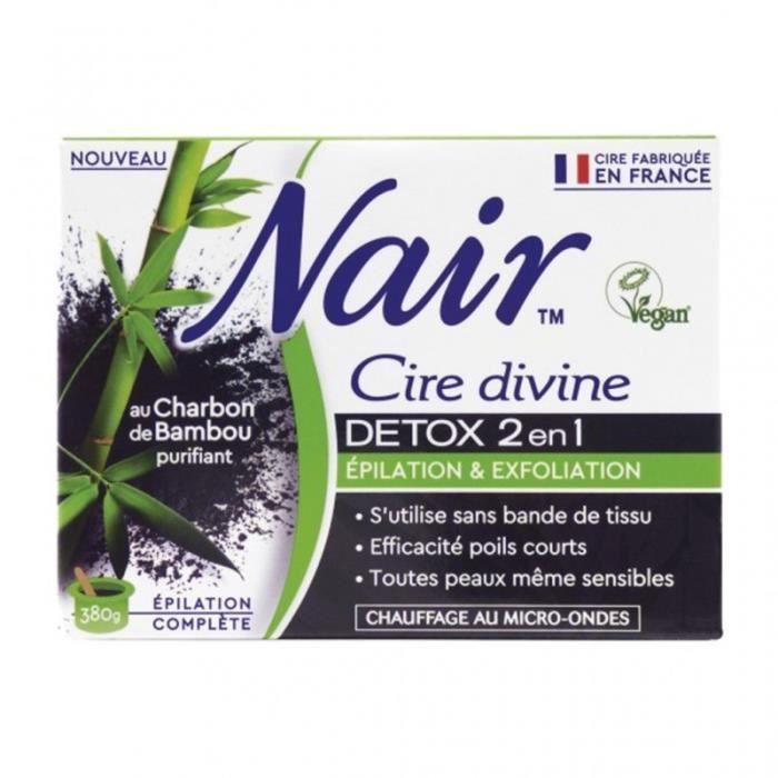 Nair Cire Divine Épilation Complète Detox 2 en 1 Épilation & Exfoliation au Charbon de Bambou Purifi