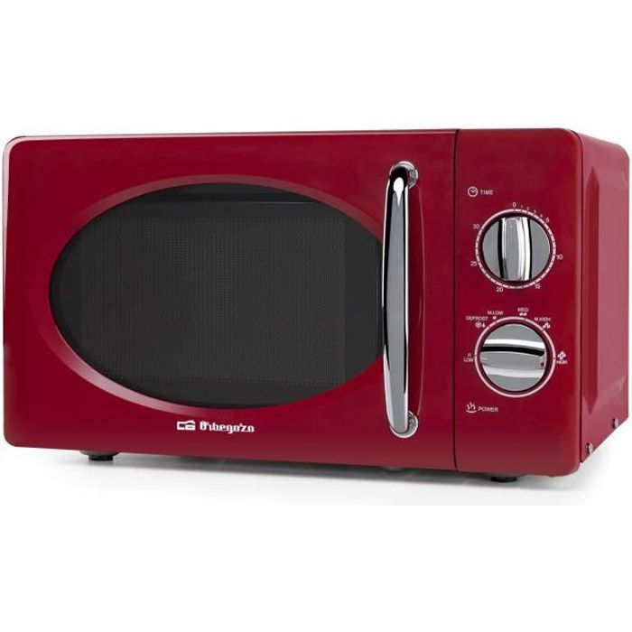 Orbegozo mi2020 micro-ondes de 700 W avec 20 litres de capacité et Design en Rouge et Argent