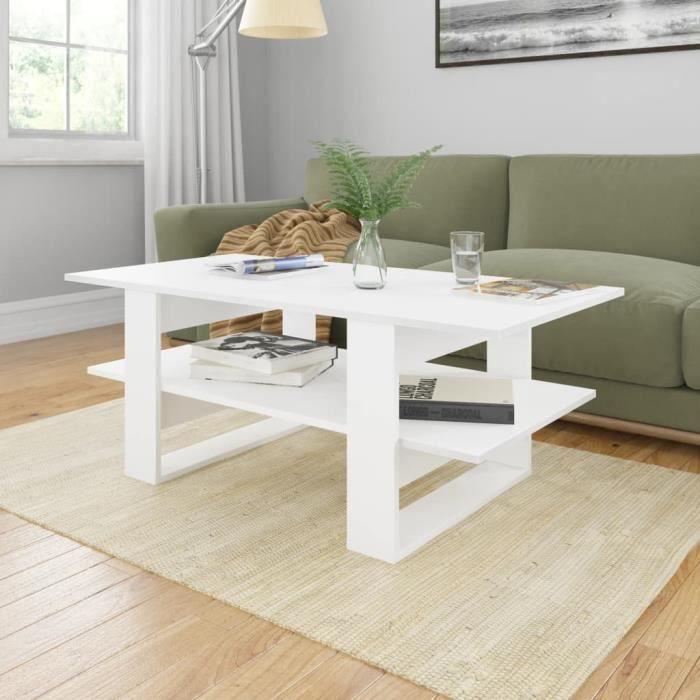 Table basse design scandinave salon contemporain Blanc 110x55x42 cm Aggloméré