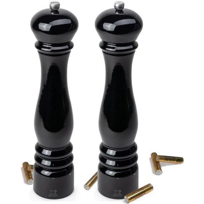 Peugeot - duo moulins électrique sel + poivre 34 cm laqué noir - 36249 + 36256